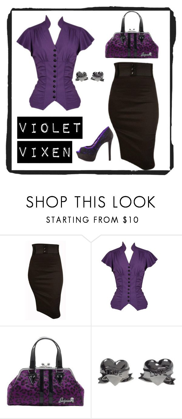"""""""Vintage Violet Vixen"""" by modern-grease ❤ liked on Polyvore featuring Jessica Simpson and vintage"""