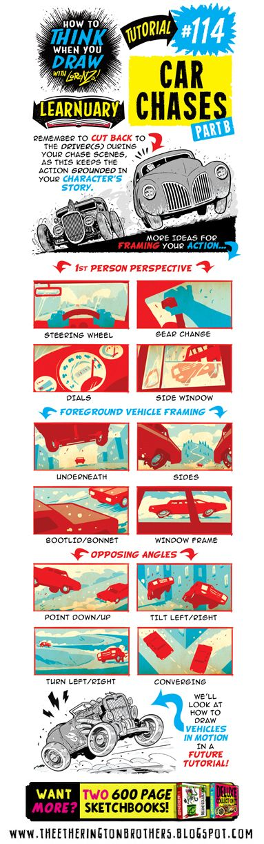 The Etherington Brothers: How to THINK when you draw CAR CHASES tutorial #LEARNUARY day SIXTEEN!