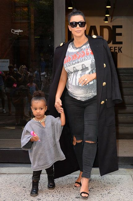 Kim Kardashian West's Best Maternity Looks: Kim goes for a casual look while out and about in New York with her daughter, North West