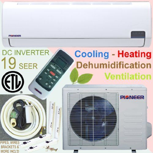 Pioneer Ductless Mini Split INVERTER Air Conditioner, Heat Pump, 12000 BTU (1 Ton), 19 SEER, Cooling, Heating, Dehumidification, Ventilation. Including 16 Foot Installation Kit and Bonus Free Condenser Bracket. by Pioneer. $828.00. Perfect equipment for additions, conversions and ultimate independent zone control. Super Quiet Operation.. Includes easy installation kit, with 16 foot length line set and various other accessories. PLUS a Free Condenser Bracket Kit ($ 69 Va...