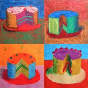 The cakes art activity- inspired by Wayne Thiebaud