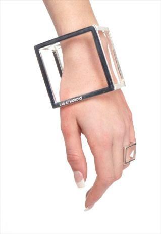 3D Squared Wraparound Silver-tone Bangle