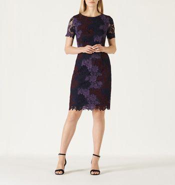 DAVID LAWRENCE   Luxe Tri-Colour Lace Dress #davidlawrence