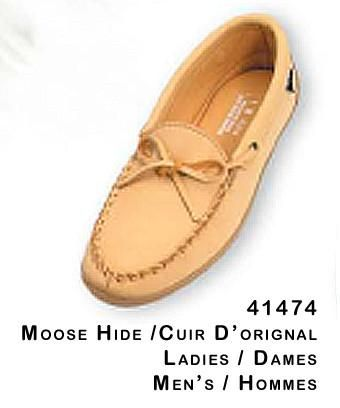 Men's and Ladies Moosehide driving moccasin with rubber sole