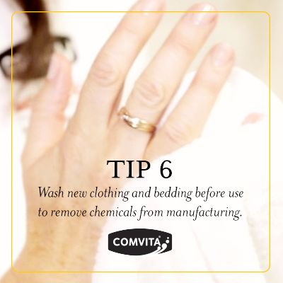 Eczema Management Tip 6  - Triggers.  Wash new clothing and bedding before use to remove chemicals from manufacturing. http://www.comvita.co.nz/ingredients/medihoney-landing.html