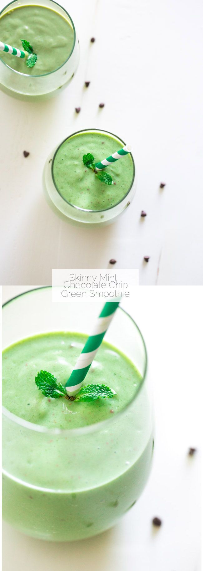 Mint Chocolate Chip Green Smoothie - Tastes like a mint chocolate chip milkshake but it's SO healthy and packed with protein and nutrients! | Foodfaithfitness.com | @FoodFaithFit
