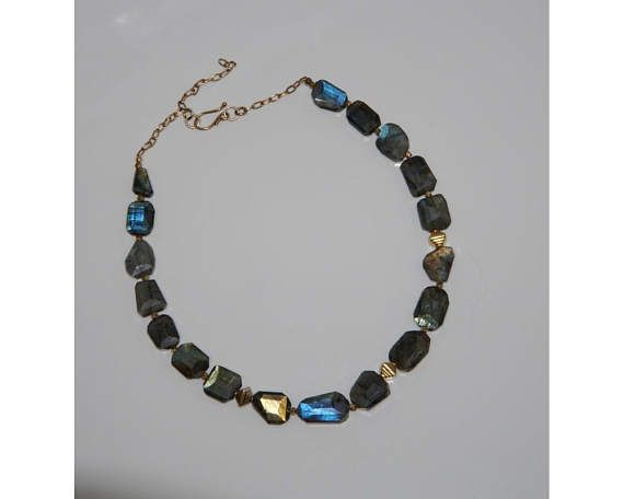 Labradorite and gold necklace.