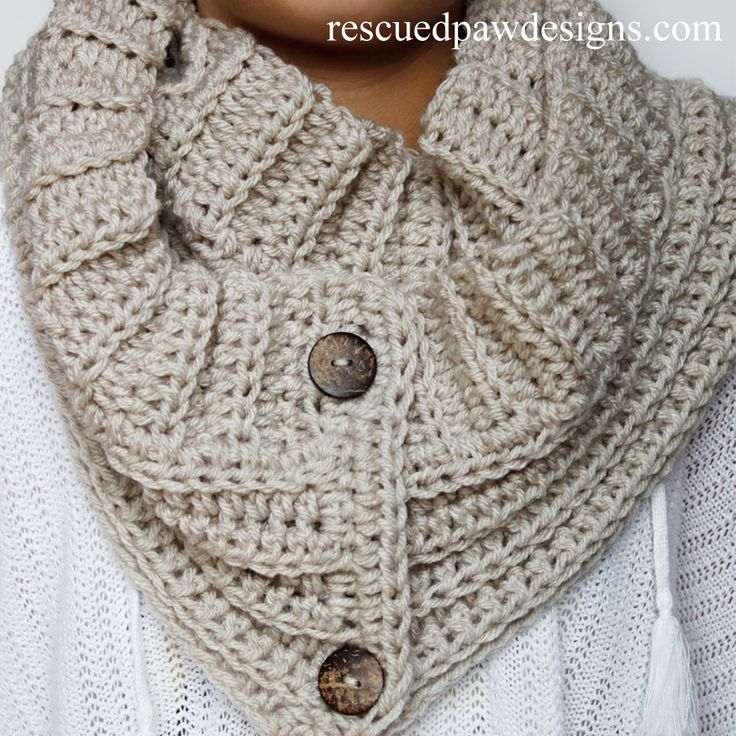 Andy Button Scarf - Free Crochet Pattern from Rescued Paw Designs
