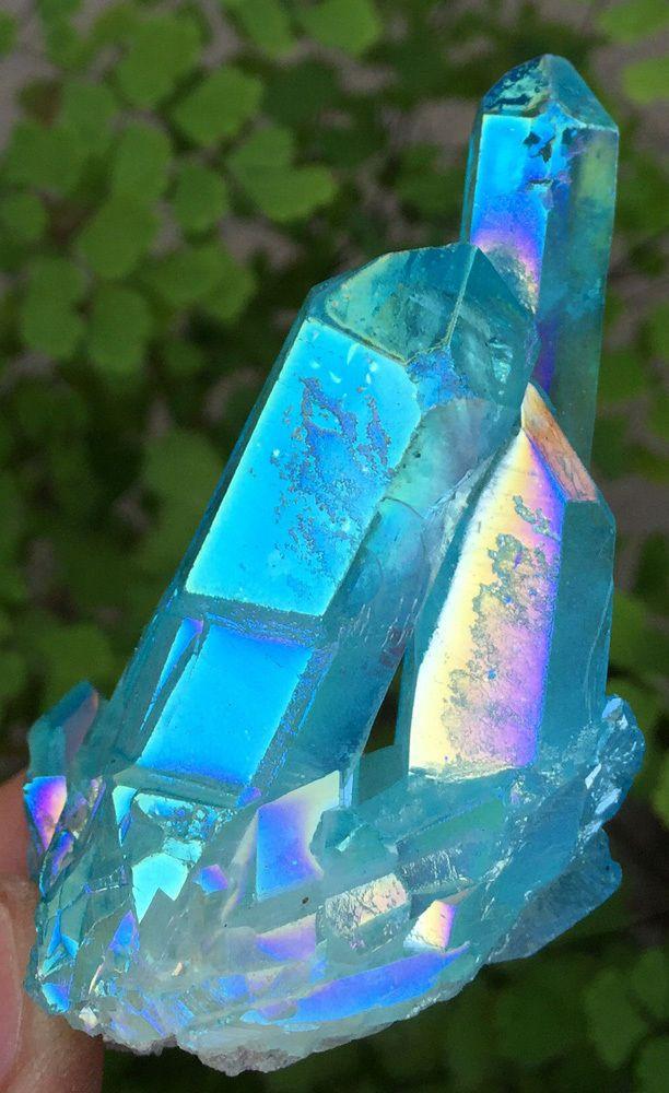 57g Light Blue Aura Quartz Crystal Titanium Bismuth Silicon Cluster Rainbows896
