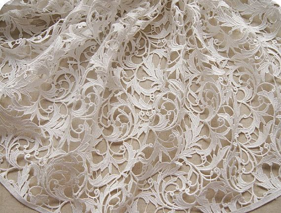 off white lace fabric venise lace fabric Bridal by WeddingbySophie, $39.00