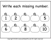 Missing Numbers – Halloween Worksheet- Pumpkin Worksheet