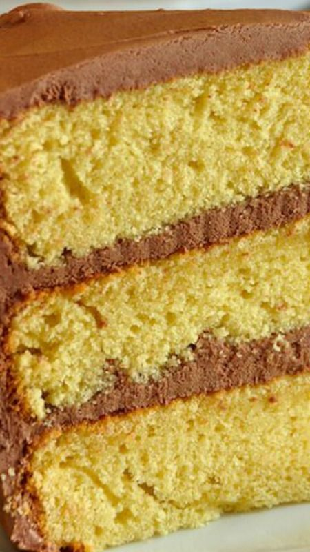 The Best Yellow Cake Recipe, Homemade from Scratch ~ a moist, delicious, beautifully textured cake, paired in a classic combination with chocolate frosting.