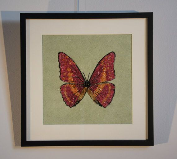 Red and Orange Butterfly Painting created with natural gemstones.