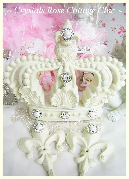 Fleur De Lis French Ivory Bed Crown Canopy Set by sweetlilboutique