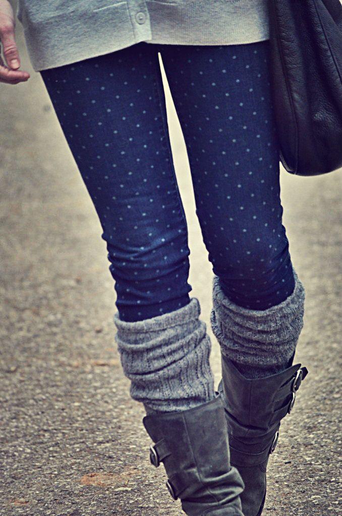 boots + leg warmers + polka dot skinnies