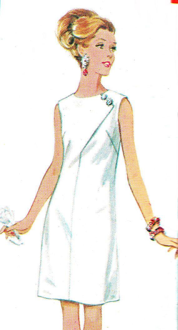 années 60 robe patron Butterick 4702 Mod Maj avec détail de couture épaule  touche Trim Womens Vintage Sewing Pattern buste 38