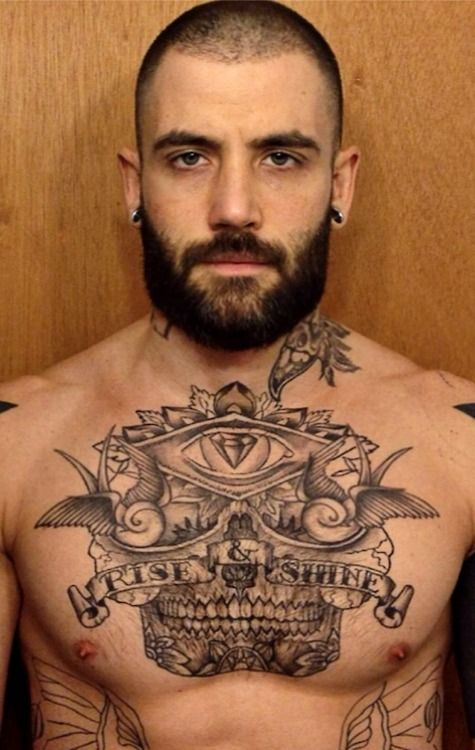 extraordinary drilling of tattooed guy
