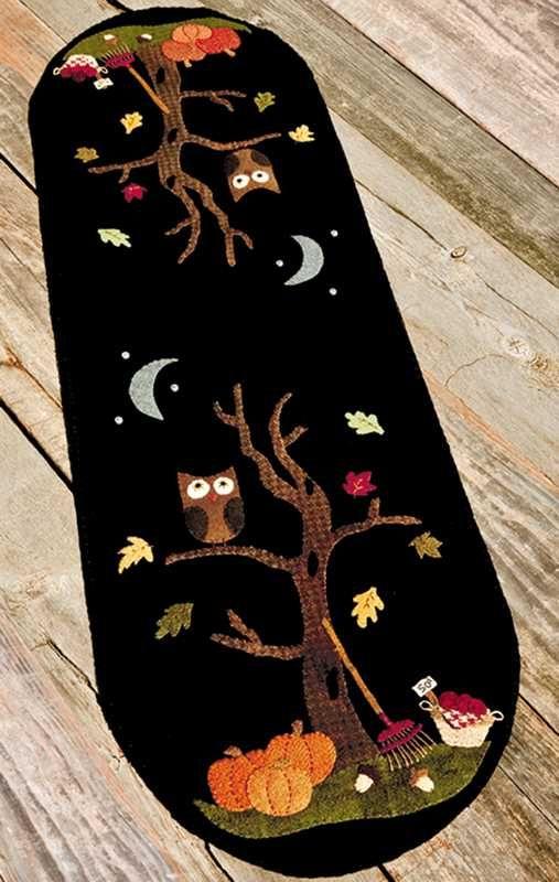wool felt owl, tree and moon