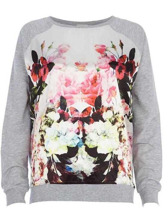 Sudadera suelta floral manga larga-gris $MXN314.25