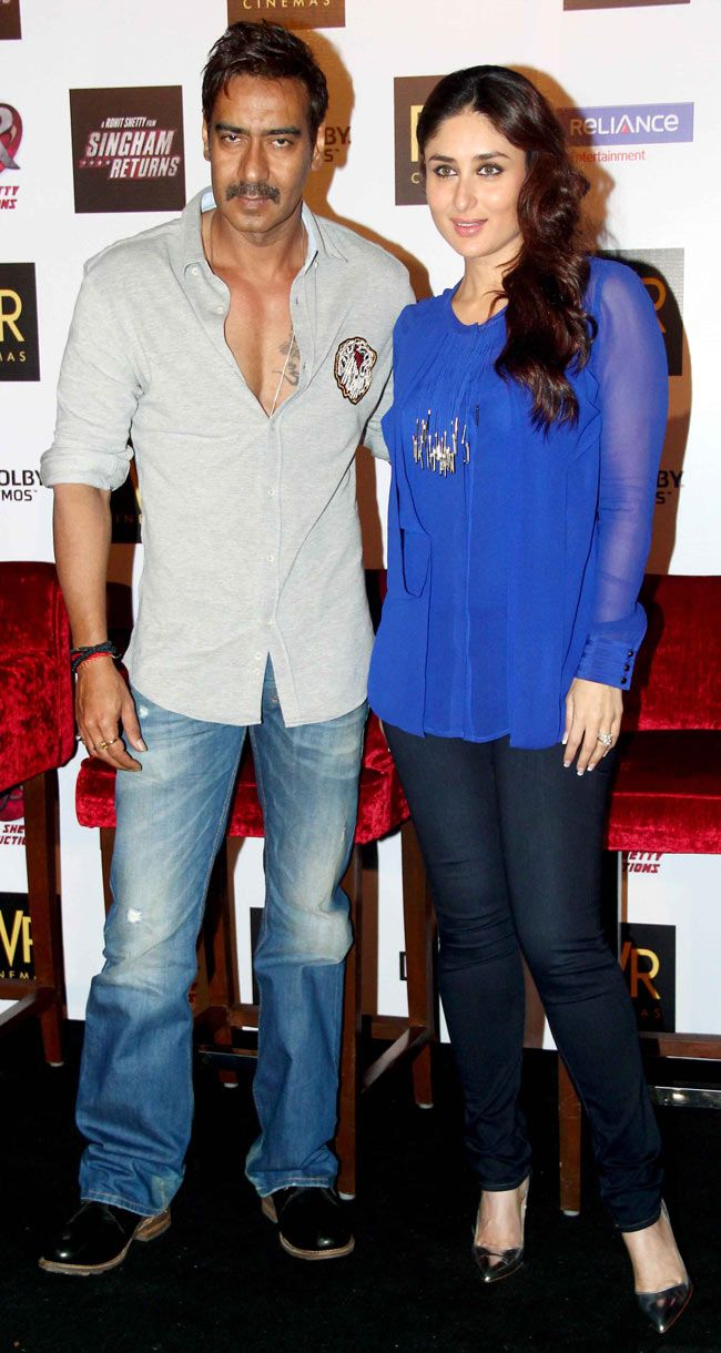 Kareena Kapoor Khan and Ajay Devgn at the launch of 'Singham Returns' merchandise. #Style #Bollywood #Fashion #Beauty