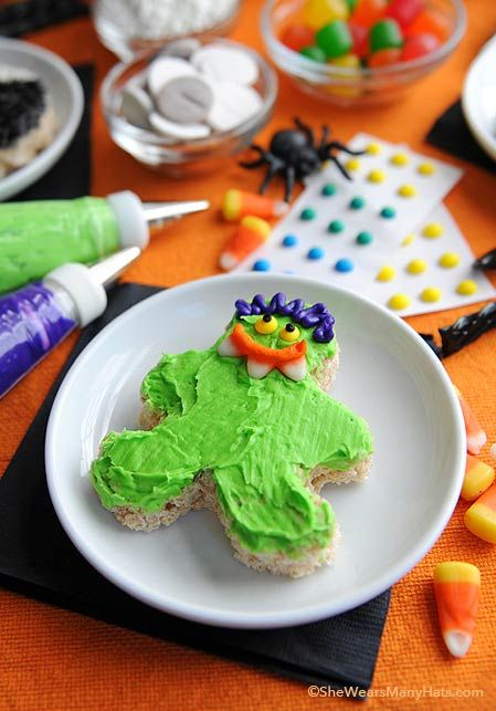 Plan a Halloween Rice Krispies Treats decorating party with the kids. They will love these fun and silly treats.