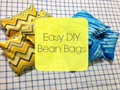 Make bean bags for Bean bag toss game. Easy diy. Draw circles chalk on driveway. Easy!