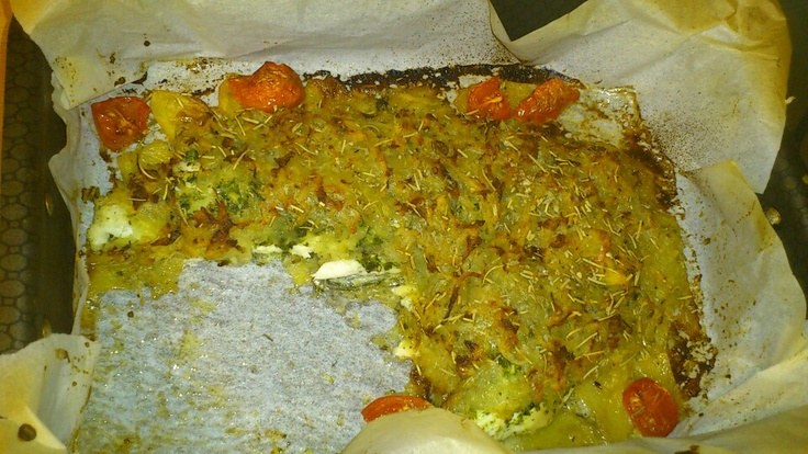 Some fillet of bass in potatos crust