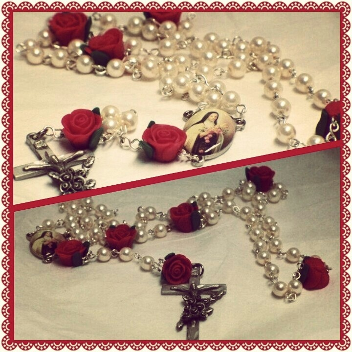 GLASS PEARL N ROSE ST THERESA ROSARY