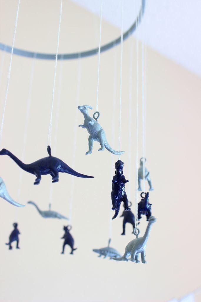 DIY Dinosaur Mobile - such a fun accent in a baby boy nursery!