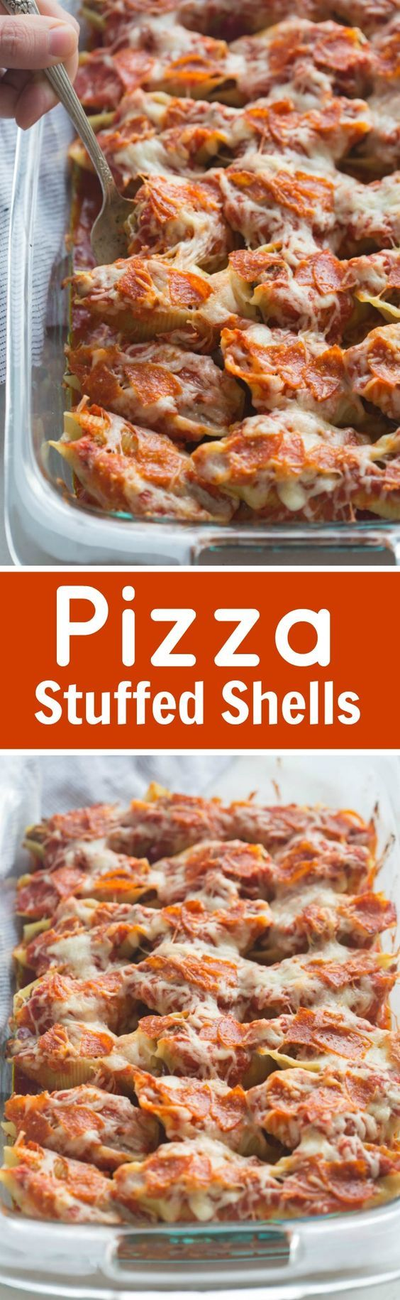 """Pizza Stuffed Shells with tender noddles filled with a """"pizza supreme"""" mixture and layered with sauce, pepperoni and cheese."""