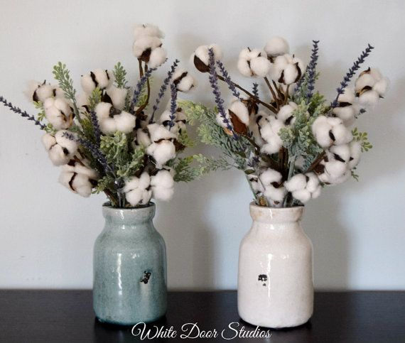 Rustic Cotton Boll Arrangement | Cotton Decor | Cotton Stems in Ceramic Vase | Southern Farmhouse Decor | Second Anniversary Gift