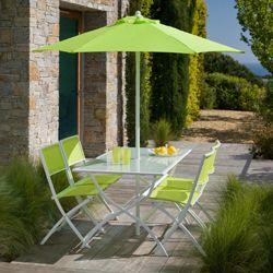 Salon de jardin FUNDY vert anis avec parasol offert | Metalle ...