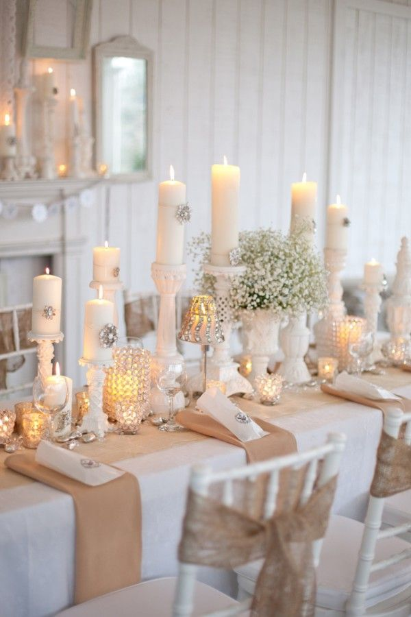This would be an amazing table idea for Thanksgiving or Christmas. Add a burlap runner to a white table cloth. Use small tealight holders mixed in with pillars. Also use pillar trays for candles. Maybe add in some red for the holidays?
