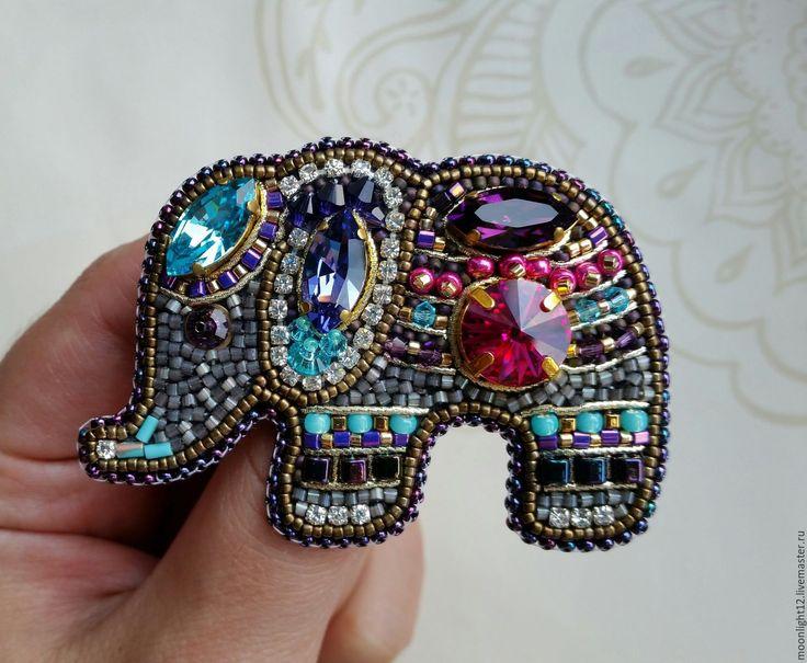 """Купить Брошь """"Индийский слоник """" - брошь купить, брошь ручной работы, слон брошь"""