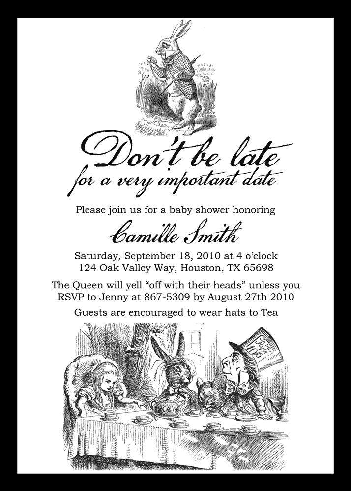 Best Alice In Wonderland Shower Images On Pinterest Alice In - Free birthday invitations alice in wonderland