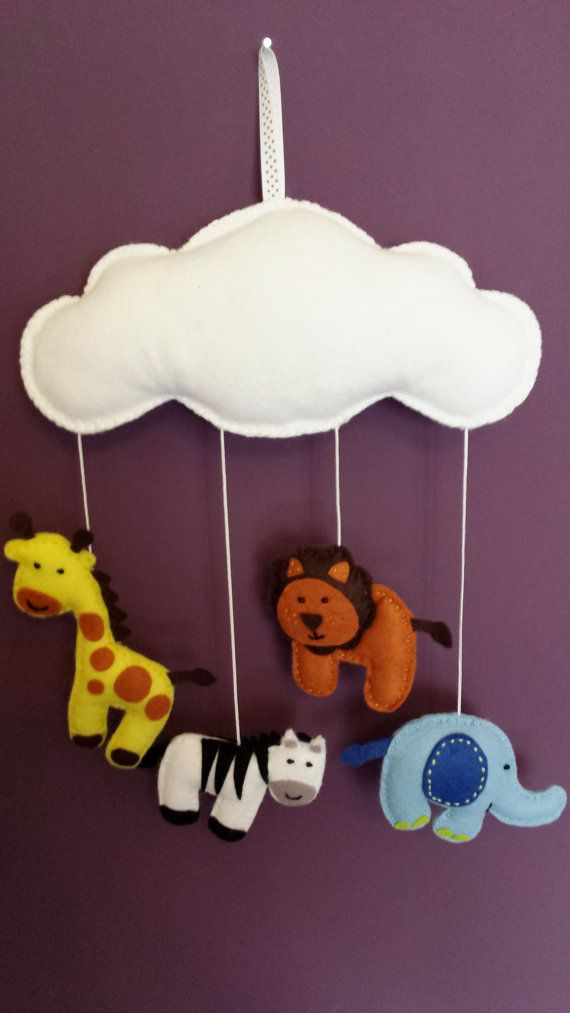 Cloud Baby Felt Animal Mobile  Available in colour by funkyfelts1