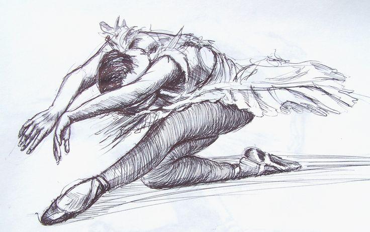 sketchbook drawing of a ballerina