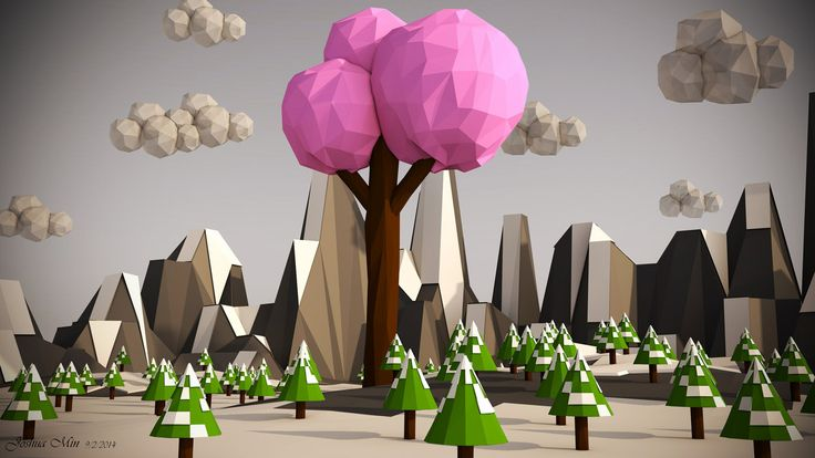 Low Poly Landscape - Pink Tree (Including VIDEO) by SKIGZdoesART on DeviantArt