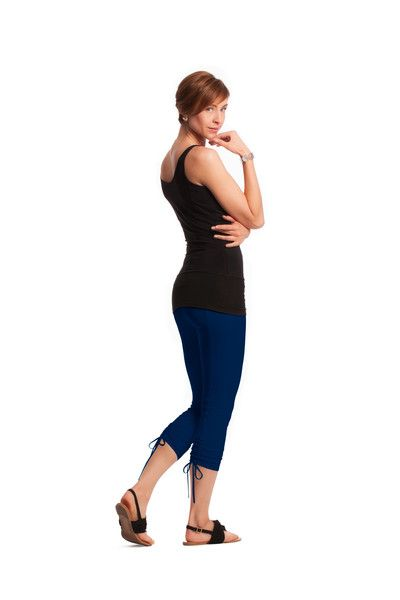 Lace-up crop leggings with shapewear
