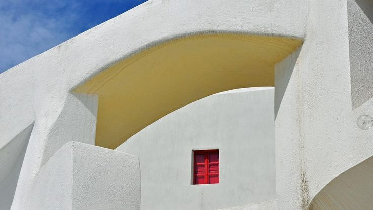 Even Santorini's white buildings have pops of colour, displayed on the trim, on a gate or on a doorway, as shown here in Emporio, a lovely town 12km south of Thira  http://esperas-santorini.com/  #emporio #greece #santorini #thira