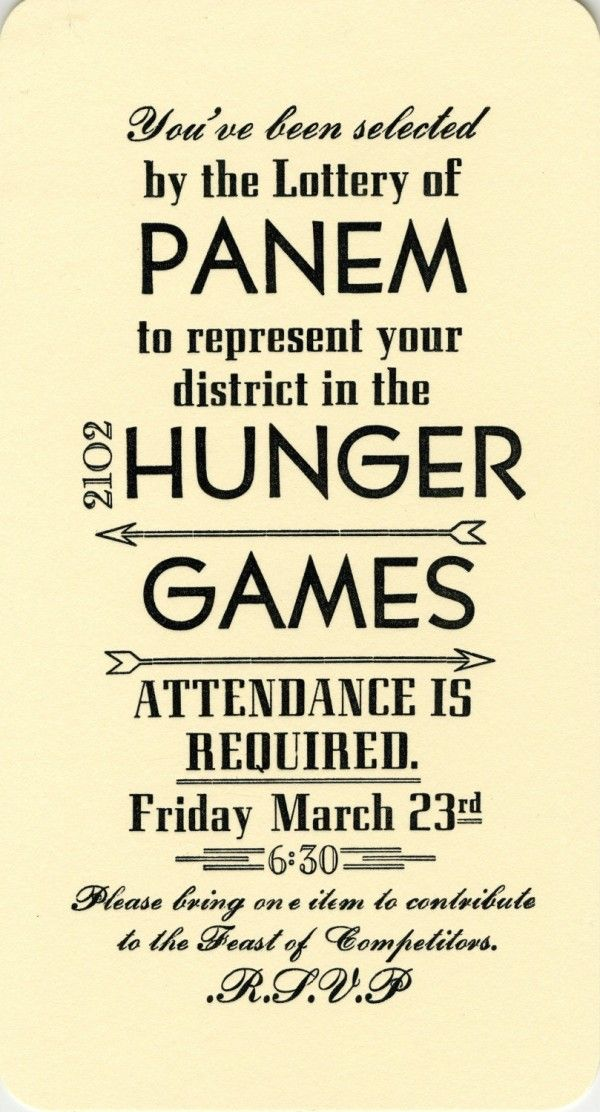 Happy Hunger Games: Ideas for Throwing A Hunger Games Party | OCCASIONS
