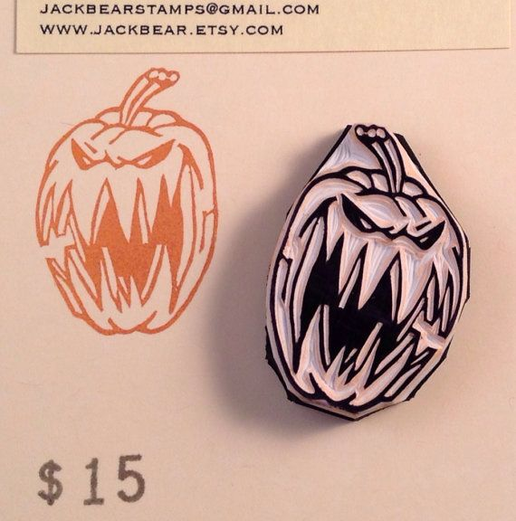 JackOLantern Stamp  Hand Carved Rubber Stamp by jackbear on Etsy, $15.00