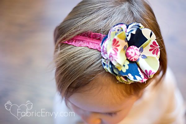 Easy fabric scrap flower for baby, toddler, or adult headband.