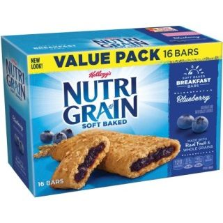 Kellogg's Nutri-Grain Soft Baked Blueberry Breakfast Bars, 1.3 oz, 16 count  Kellogg's Nutri-Grain Blueberry Cereal Bars Value Pack:  Whole grain stamp: 8 g per serving Blueberry cereal bars, 1.3 oz, 16-count Made with real fruit and whole grains No high fructose corn syrup Ingredients: Ingredients: Crust: Whole Grain Oats, Enriched Flour (Wheat Flour, Niacin, Reduced Iron, Vitamin B1 [Thiamin Mononitrate], Vitamin B2 [Riboflavin], Folic Acid), Whole Wheat Flour, Soybean And/Or Canola Oil…