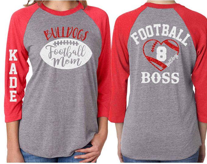 Football Mom  Glitter  Raglan Shirt|3/4 Sleeve Baseball|Customize with your Team & Colors