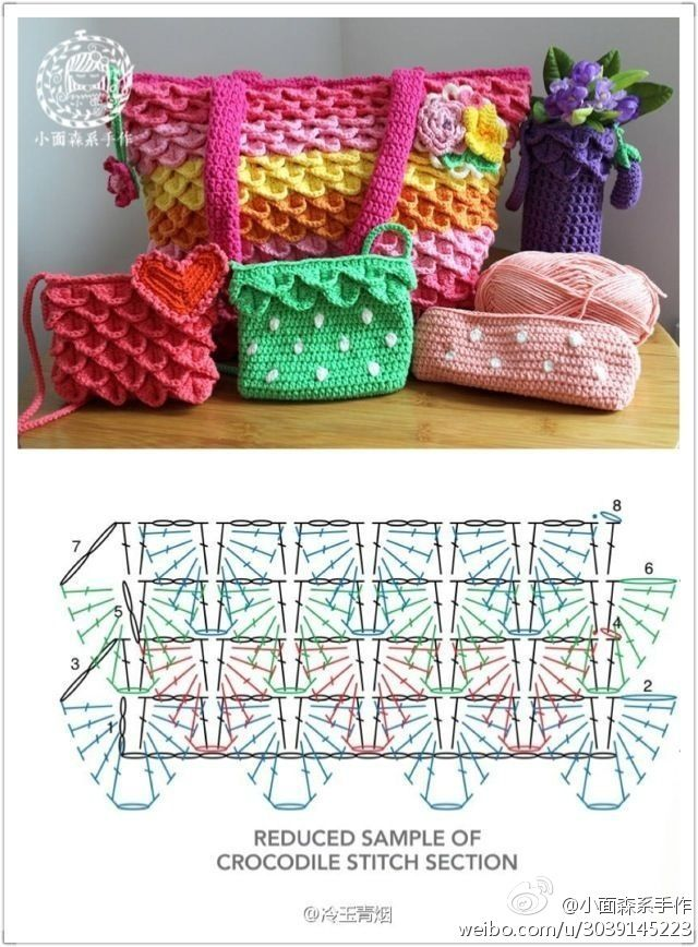 Crochet Crocodile Stitch Purse - Chart  ❥ 4U // hf