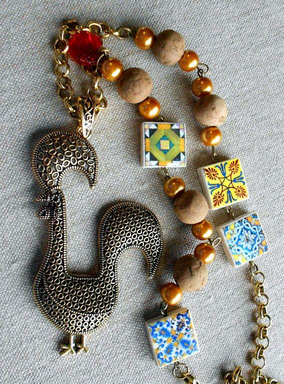Portugal Antique Azulejo Tile Replica  Necklace w Portuguese Rooster or Galo de Barcelos -Cork Beads OOAK