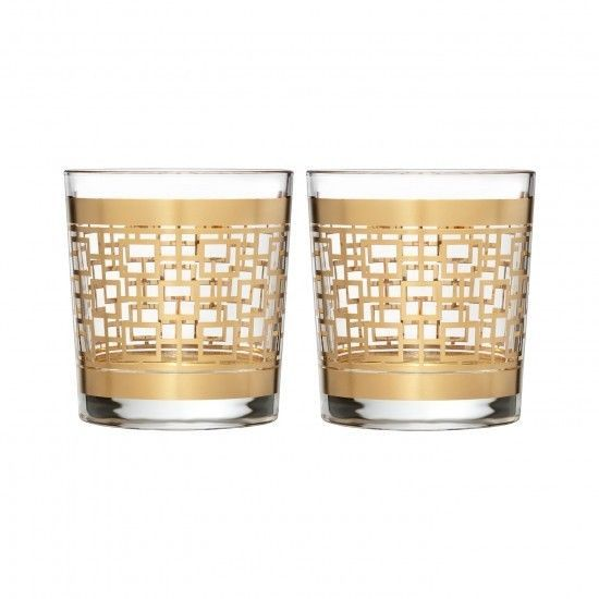 Waterford Mad Men Edition Holloway Gold Patterned Double Old Fashioned Pair New #WaterfordCrystal