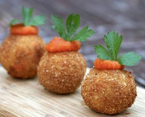 ... left over Risotto, make Arancini Di Riso - Crispy Fried Risotto Balls