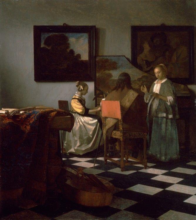 The Concert, about 1665, Johannes Vermeer, Dutch, 1632-1675, Oil on canvas, 72.5 x 64.7 cm